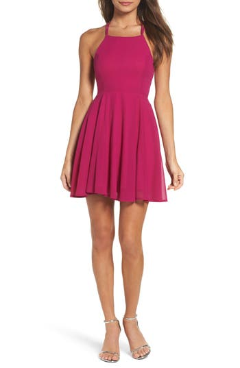 Lulus Good Deeds Lace-Up Skater Dress, Pink