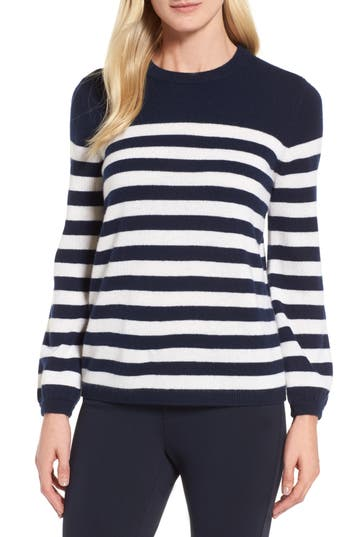 Women's Nordstrom Signature Stripe Cashmere Sweater, Size X-Small - Blue