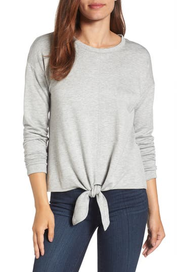 Women's Bobeau Tie Front Sweatshirt, Size Medium - Grey