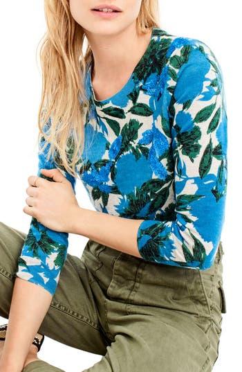 Women's J.crew Sequin Flower Tippi Sweater, Size XX-Small - Blue