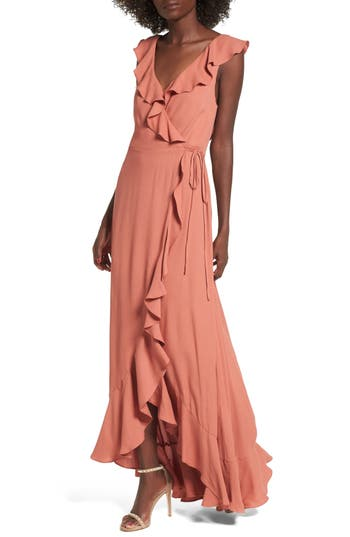 Women's Afrm Wade Wrap Maxi Dress, Size Medium - Pink