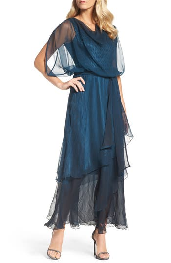 Vintage Inspired Cocktail Dresses, Party Dresses Womens Komarov Chiffon Overlay Long Blouson Dress $480.00 AT vintagedancer.com