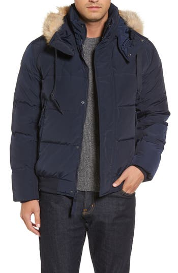 Marc New York Insulated Jacket With Genuine Coyote Fur, Blue