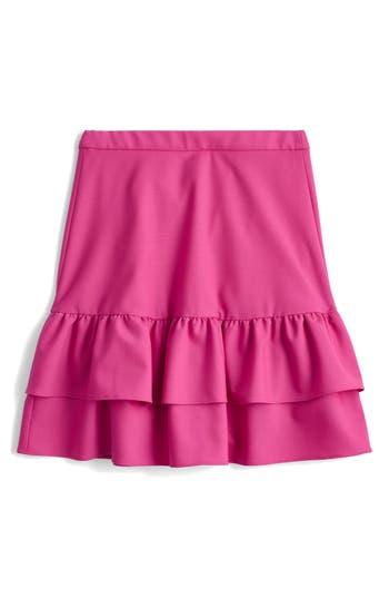 Women's J.crew Wool Flannel Ruffle Skirt, Size 00 - Pink