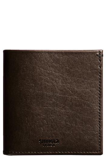 Shinola Square Bifold Leather Wallet - Brown