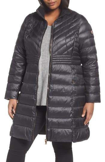 Plus Size Bernardo Down & Primaloft Coat, Black