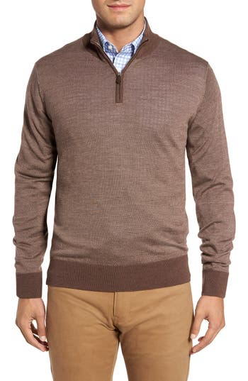 Men's Peter Millar Collection Merino Blend Bird's Eye Quarter Zip Pullover
