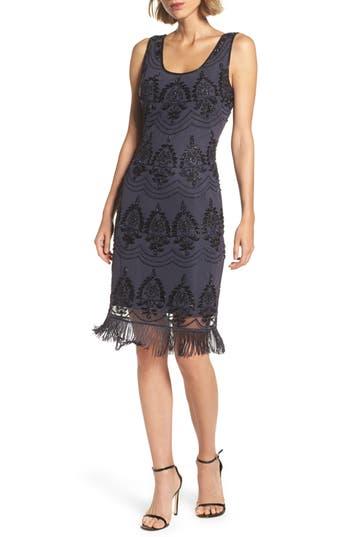 1920s Style Dresses, Flapper Dresses Womens Pisarro Nights Beaded Fringe Hem Sheath Dress $168.00 AT vintagedancer.com