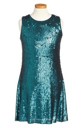 Girl's Marciano Sequin A-Line Dress, Size 12 - Blue