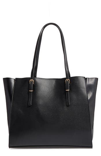 Street Level Faux Leather Buckle Tote - Black