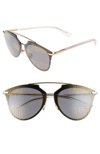 Women's Dior Reflected Prism 63Mm Oversize Mirrored Brow Bar Sunglasses - Rose Gold/ Crystal
