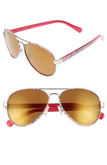 Lilly Pulitzer Ainsley 5m Polarized Aviator Sunglasses - Yellow Gold/ Banana Flambe