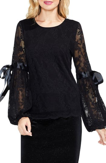 Women's Vince Camuto Tie Cuff Bubble Sleeve Floral Lace Top, Size X-Small - Black