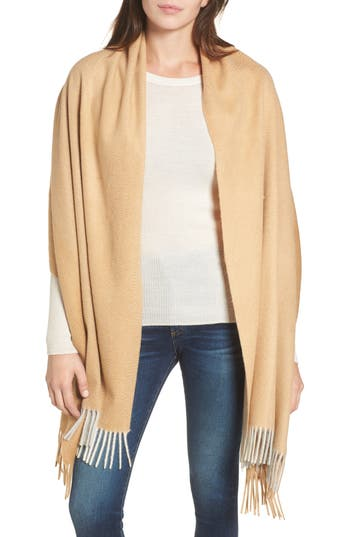 Women's Nordstrom Collection Tricolor Cashmere Wrap, Size One Size - Beige