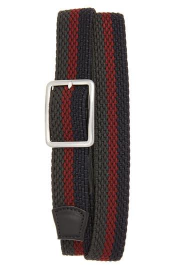 Big & Tall Torino Belts Tri Stripe Reversible Woven Belt, Navy/ Burg/ Slate