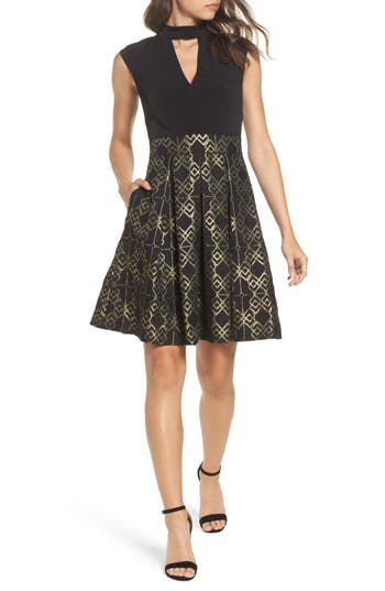 Vince Camuto Ity Jacquard Fit & Flare Dress, Black