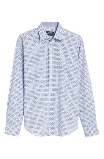 Men's Bugatchi Trim Fit Geo Print Sport Shirt