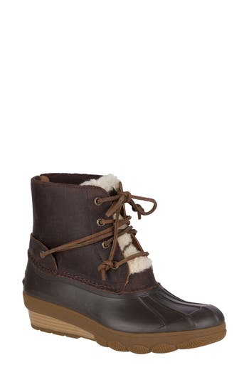 Women's Sperry Saltwater Water Resistant Faux Shearling Duck Boot, Size 5 M - Brown
