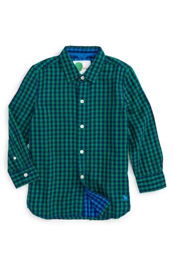 Boy's Mini Boden Double Cloth Shirt, Size 9-10Y - Green