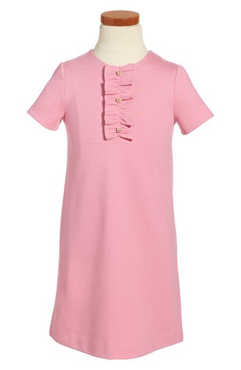 Girl's Gucci Ruffle Front Shift Dress, Size 8 - Pink