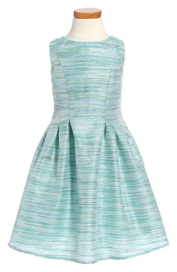 Girl's Little Angels Stripe Brocade Sleeveless Dress