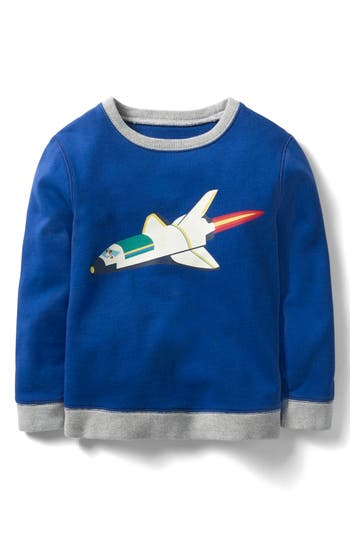 Boy's Mini Boden Glowing Space Graphic Sweatshirt