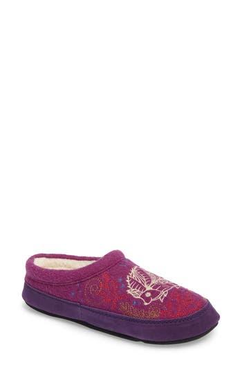 Women's Acorn 'Forest' Wool Mule Slipper, Size Small - Purple