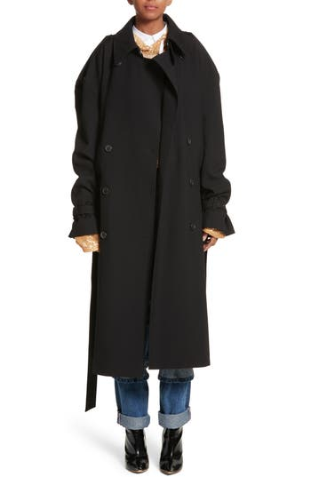 Women's Y/project Double Breasted Wool Coat, Size Small - Black