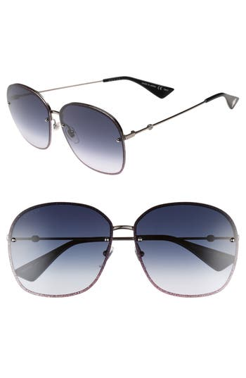 Women's Gucci 63Mm Oversize Square Sunglasses - Ruthenium