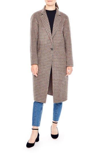 Women's Sandro Irva Check Wool Coat, Size 36 - Grey