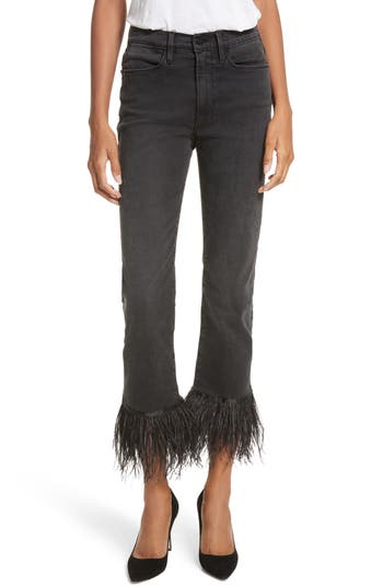 Le High Straight High Rise Feather Hem Jeans