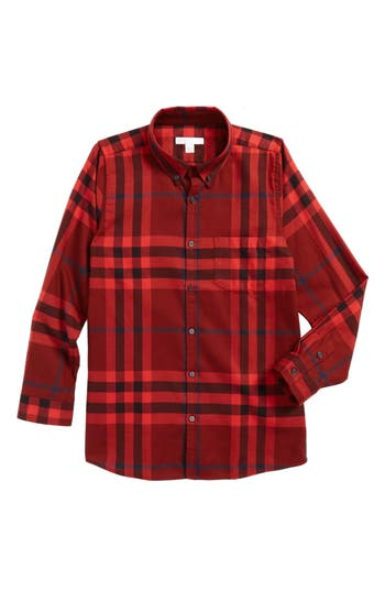 Boy's Burberry Mini Fred Flannel Button-Down Shirt