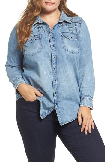 Plus Size Women's Lucky Brand Embroidered Denim Shirt, Size 1X - Blue