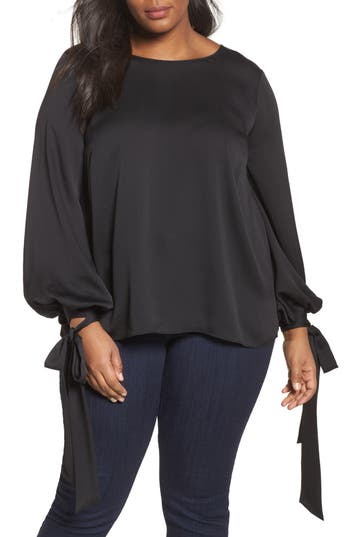 Plus Size Women's Vince Camuto Tie Cuff Bubble Sleeve Blouse, Size 1X - Black