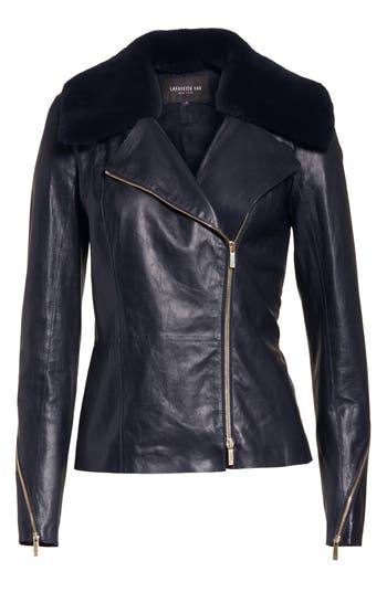 Women's Lafayette 148 New York Kimbry Leather Jacket With Removable Genuine Rex Rabbit Fur Collar