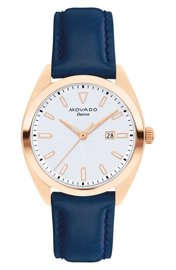 Women's Movado Heritage Datron Leather Strap Watch, 31Mm