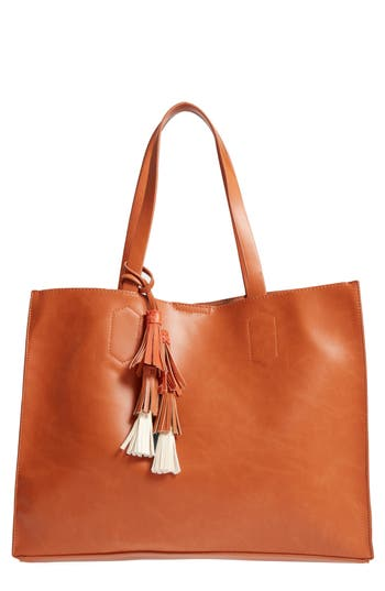 Emperia Tassel Faux Leather Tote - Brown