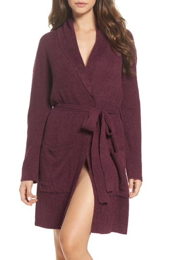 Women's Barefoot Dreams Cozychic Lite Short Robe, Size 1 - Burgundy
