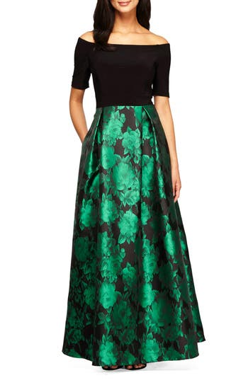 Women's Alex Evenings Rose Print Off The Shoulder Gown, Size 4 - Black