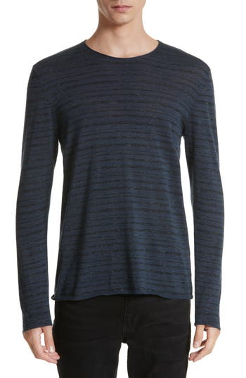 Men's John Varvatos Collection Melange Stripe Sweater, Size Small - Blue