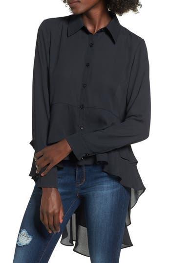 Women's Soprano Ruffle Hem Top, Size X-Small - Black