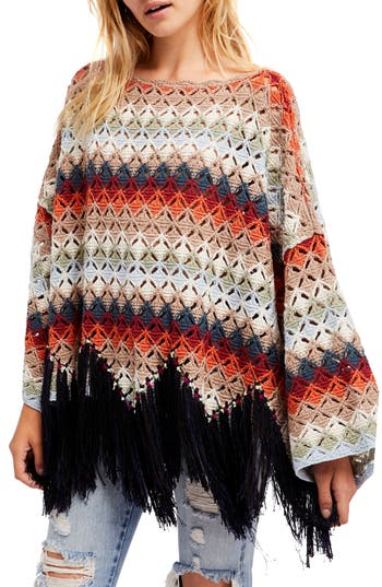 Vintage Sweaters: Cable Knit, Fair Isle Cardigans & Sweaters Womens Free People NadiaS Poncho $118.80 AT vintagedancer.com