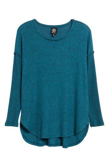 Women's Bobeau Rib Long Sleeve Fuzzy Sweatshirt, Size Large - Blue