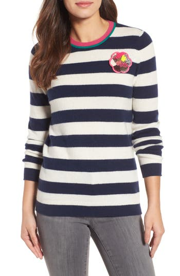 Women's Halogen Stripe Cashmere Sweater, Size X-Small - Ivory