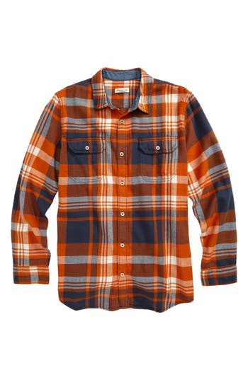 Boy's Tucker + Tate Long Sleeve Plaid Flannel Shirt, Size XL (14-16) - Orange