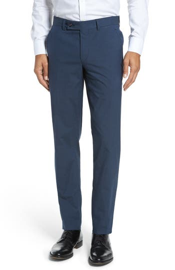 Men's Ted Baker London Jerome Flat Front Stretch Solid Cotton Trousers