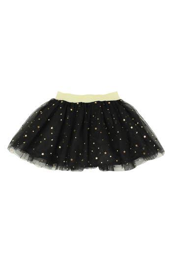 Girl's Popatu Metallic Star Tulle Skirt, Size M (5-6) - Black