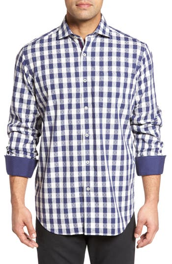 Men's Bugatchi Classic Fit Dobby Gingham Sport Shirt, Size Small - Blue