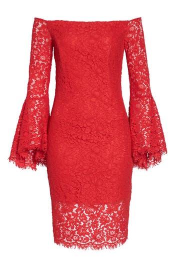 Women's Bardot Solange Corded Lace Sheath Dress, Size X-Small - Red