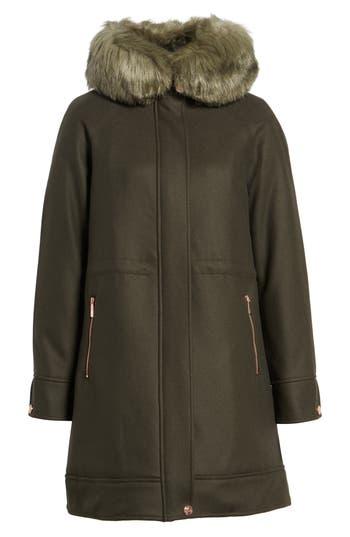 Women's Ted Baker London Wool Coat With Faux Fur Trim, Size 0 - Beige